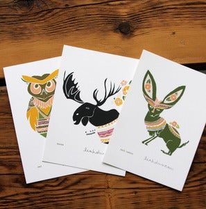 Image of Owl, Moose, Jack Rabbit Print Set