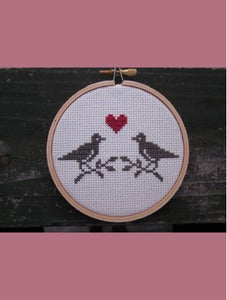 Image of Lovebirds Cross-Stitch Do-It-Yourself kit by Chez-Sucre-Chez