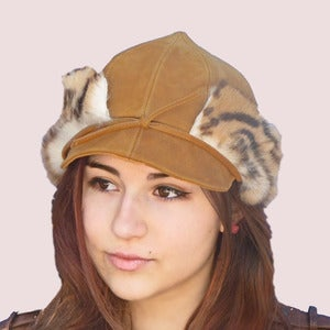 Image of Tsarina Leather Cap With Fur Earflaps in  Brown Leopard