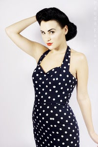 Image of Navy Penny Spot Fitted Halterneck Dress