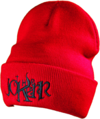 Image of The Jokerr Beanie - Black on Red (FOLD UP)