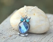 Image of Owl Necklace with Sapphire and Teal Crystals. Owl Charm Necklace in Silver.