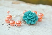 Image of Chunky Teal Rose and Coral Orange Glass Pearl Bracelet
