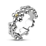 Image of Multi Flower Band Stainless Steel Ring