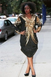 Image of Sequin Ruched Black and Gold Dress