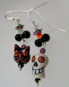 Image of Skull and Black Cat Earrings