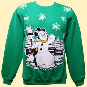 Image of Unisex Jack Frost Christmas Sweatshirt - Green