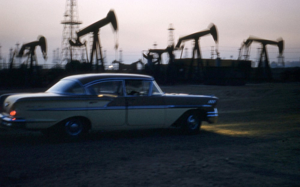 Image of California Oil Rigs 1950's Color Photo
