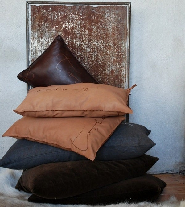 Image of Swedish Leather Pillow - &quot;Today&quot; 