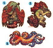 Image of Quetzalcoatl/Foo Dog/Octopus Stickers