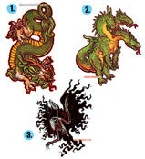 Image of Eastern Dragon/Hydra/Crow Skeleton Stickers