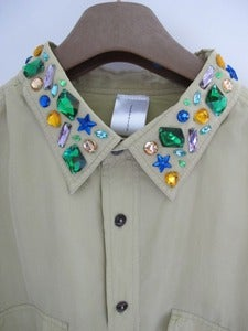 Image of Bespoke Vintage Green Silk shirt with Jewelled Collar