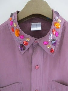 Image of Bespoke Vintage Purple Silk shirt with Jewelled Collar