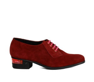 Image of Miista Esi Burgundy Suede Brogue