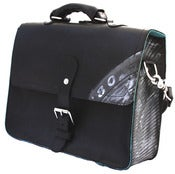 Image of No.90012 change my mind bag. black saddle leather + recycled jet tire inner tube