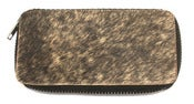 Image of No.70018 zip clutch. cow fur + recycled jet tire inner tube