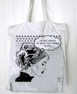 Image of sac totebag im not afraid to walk this world alone by Dadawan