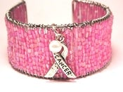 Image of Breast Cancer Awareness Unity & Strength Pink Cuff Bracelet with Pearl