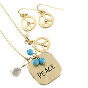 Image of Peace Necklace and Earring Set Friendship Set