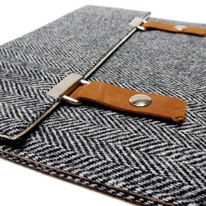 Image of iPad case in gray herringbone