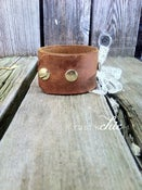 Image of Snapped Vintage Leather cuff with Vintage Lace Bow
