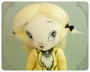 Image of Lemon Chiffon - Lady Lou - Crinoline Fairy Rag Doll by the Filigree