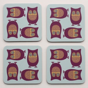 Image of Sleepy Owl Coasters - Pack of Four