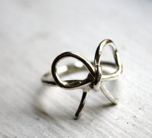 Image of Sterling Silver Bow Ring Promise Ring Knot Ring