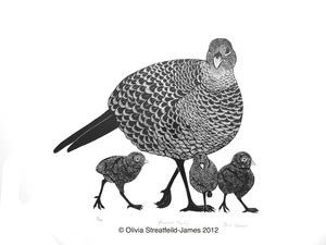 Image of Pheasant Family - Limited Edition Linocut print