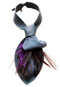Image of Teal and purple feather, leather and silk cravat collar + colors