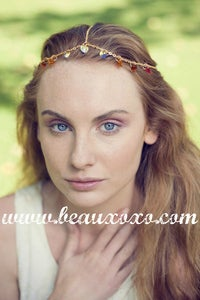 Image of Chain Head Piece Chain Headdress Autumnal Red, Topaz, Crystal Swarovski Heart Hair Jewellery