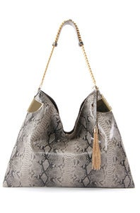 Image of 'Grey Line' Graphite Crocodile Printed Chain Shoulder Bag