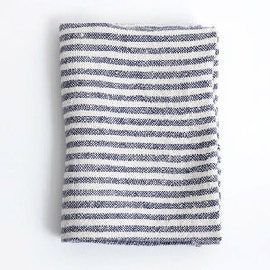 Image of Linen Chambray Towels: Navy Stripe