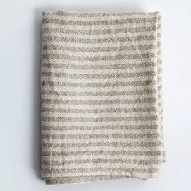 Image of Linen Chambray Towels: Natural Stripe