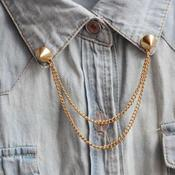 Image of Gold Stud Chain Collar Brooch