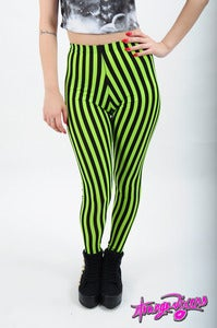 Image of Type-O-Negative Green Stripe Leggings