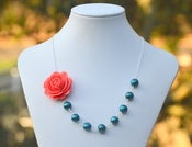 Image of Coral Rose Asymmetrical Teal Glass Pearl Necklace. Statement Bridesmaid Necklace.