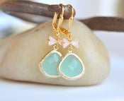 Image of Sweet Pink Bow and Aqua Teardrop Dangle Earrings in Gold