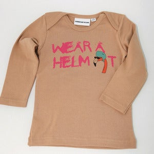 Image of Wear a Helmet Long Sleeve T shirt Honey