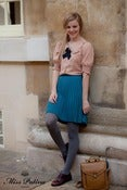 Image of Accordion Wool Skirt (teal)