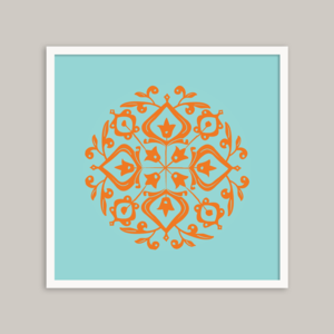 Image of Persian Glaze (orange/turquoise) - 20x20cm