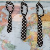 Image of boy ties - black with white polka dots