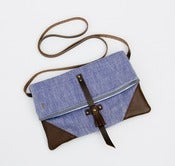 Image of S A L E ! foldover crossbody bag in chambray with leather corners