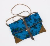 Image of foldover crossbody bag in vintage blue floral