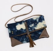 Image of -S O L D- foldover crossbody bag in hand bleached denim (c)