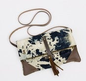 Image of -S O L D- foldover crossbody bag in hand bleached denim (b)