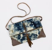 Image of -S O L D- foldover crossbody bag in hand bleached denim (a)