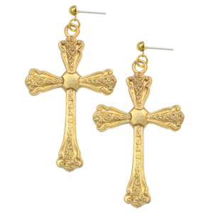 Image of Rosalie. Vintage Baroque Cross Earrings