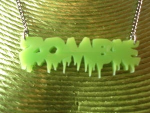 Image of ZOMBIE Lettering Necklace Lime Green Acrylic Necklace Horror Psychobilly Punk Halloween