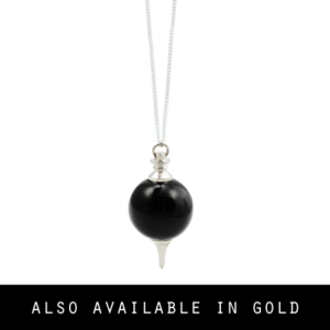 Image of Lina. Black Gemstone Orb Necklace